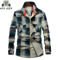 AFS JEEP Brand Clothing Shirt 100% Cotton Plaid Men Shirt Plus Size XXXXL Chemise Homme Camisa Camisa Masculina Shirts #1592