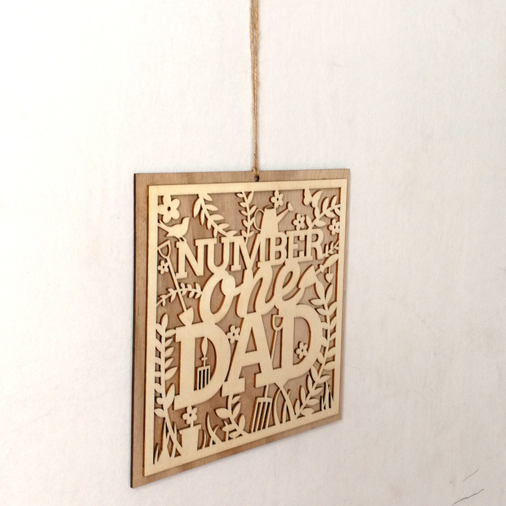 Number One Dad Wooden Hanging Board Sign Creative Fathers Day Plank Hanging Hollow Out Wooden Plaque Wall Decor Craft Pendant