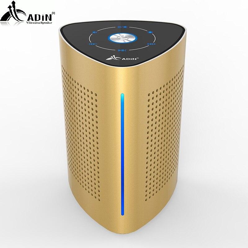 Bluetooth Колонка ADIN 36 Вт  золотистые мощные вибрационные колонки  металлические три блока  NFC стерео 3D объемный сенсорный динамик для компьютер...