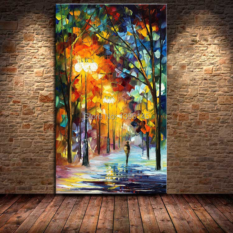 discount living room sets free shipping blue accent pieces ba oil painting big avenue colorful trees palette knife ...