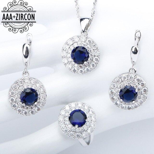 Blue Zircon 925 Silver Costume Wedding Jewelry Sets Women Necklace&Pendant Earri