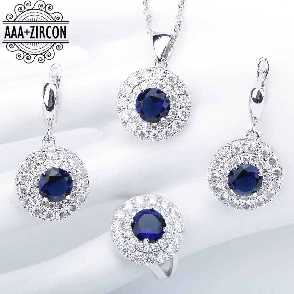 Blue Zircon 925 Silver Costume Wedding Jewelry Sets Women Necklace&Pendant Earrings With Stones Rings Set Jewelery Gift Box