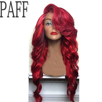 PAFF Red Lace Front Human Hair Wig 180% Density Body Wave With Bangs Peruvian Virgin Hair Wig With Baby Hair Hairline Side Part