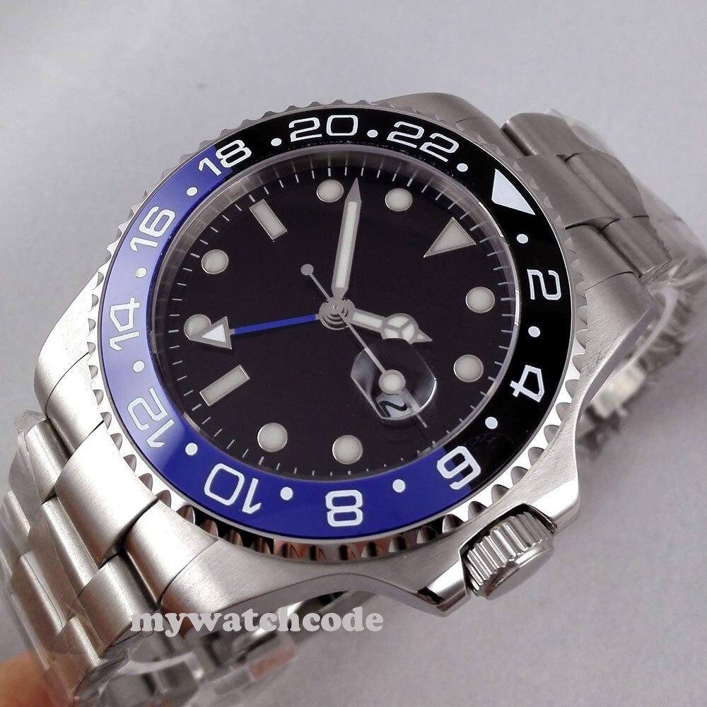 Relojes mecánicos de marca de lujo bliger 43mm negro estéril dial GMT cerámica bisel zafiro vidrio automático reloj para hombre 298-in Relojes mecánicos from Relojes de pulsera    3