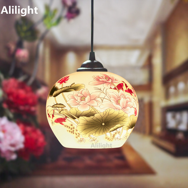 Chinese Style E27 LED Eggshell Ceramic Indoor Outdoor Decor Hanging Light  Warm White Pendant Lamp Corridor