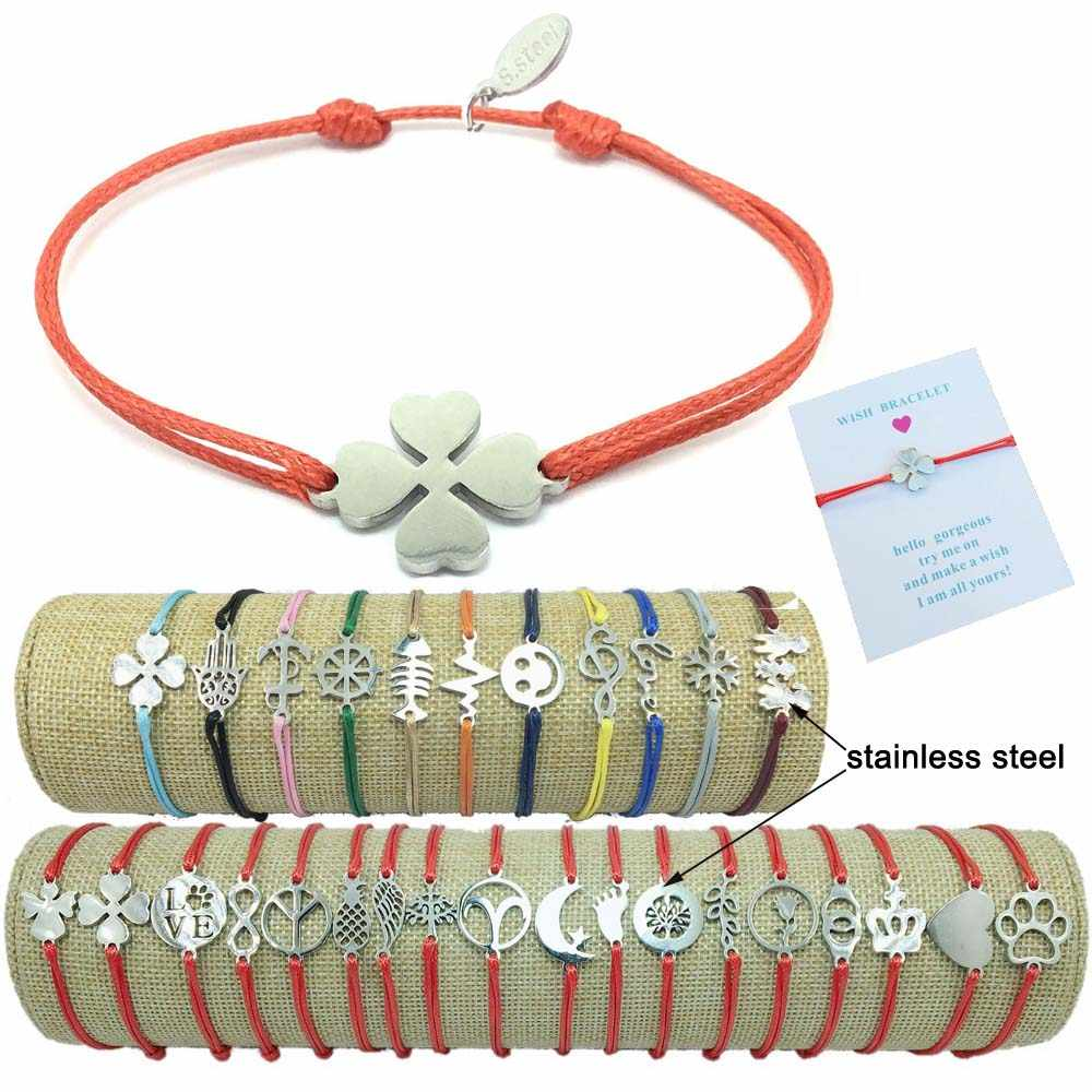 2019 New Stainless Steel Charm Wish Bracelet Adjustable Cord Good Luck Bracelet Red String Friendship Bracelet