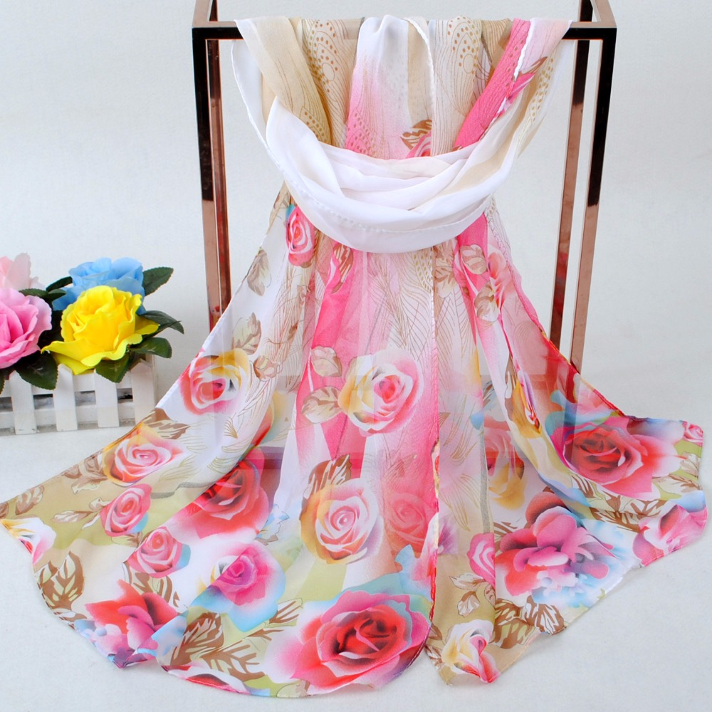 New Chiffon Scarf Female Spring And Autumn Large Super Long Printed Silk Scarf Wild Shawl Summer Sun Sand