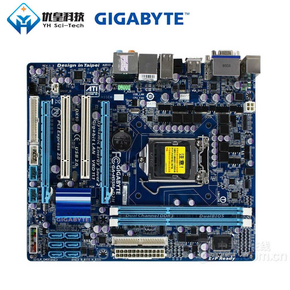 Asli Digunakan Desktop Papan Utama Gigabyte GA-H55M-D2H H55 LGA 1156 Core I7 I5 I3 DDR3 8G SATA2 USB2.0 Vga Dvi HDMI Micro ATX