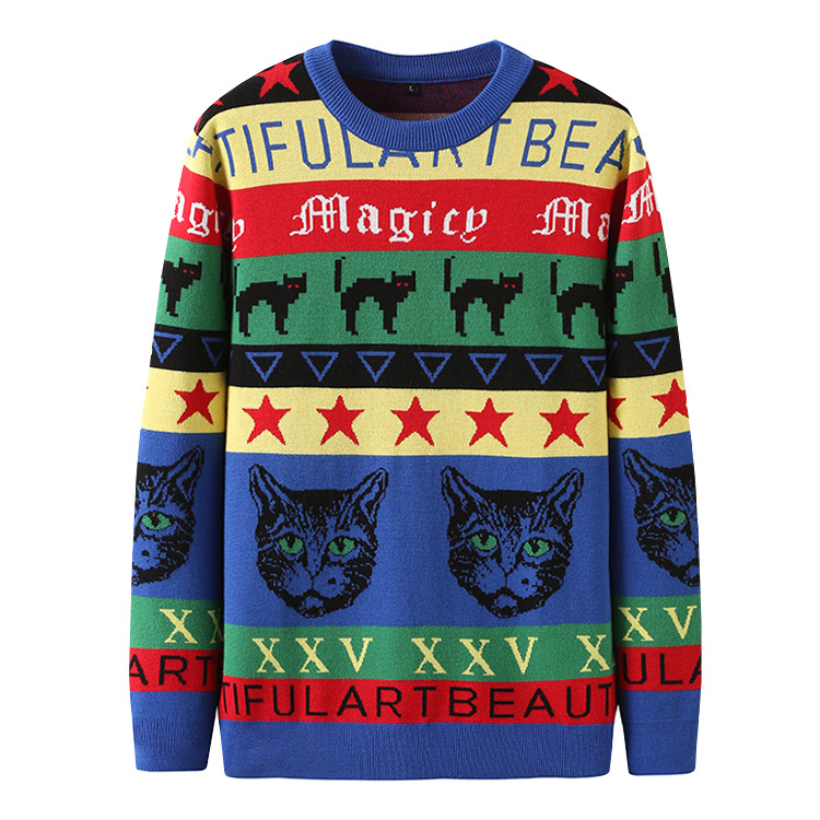 New 2019 Men Luxury Embroidered Cat Leopard Stripes Knit Casual Sweaters Pullovers Asian Plug Size High Quality Drake #ST40