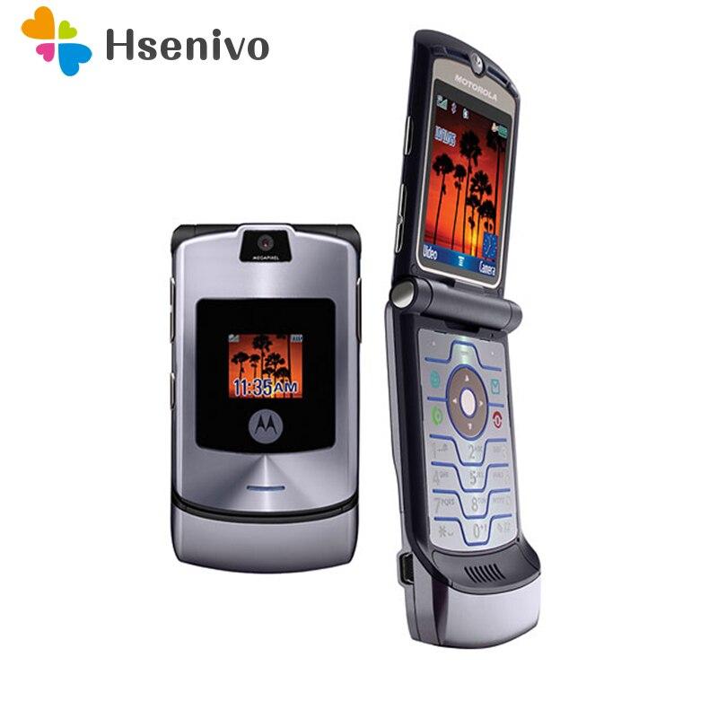 100% Original desbloqueado Motorola Razr V3i Flip Bluetooth GSM MP3 banda cuádruple teléfono móvil renovado envío gratis