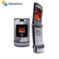 100% Unlocked Original Motorola Razr V3i Flip GSM Bluetooth MP3 Quad Band Mobile Cell Phone Refurbished Free shipping