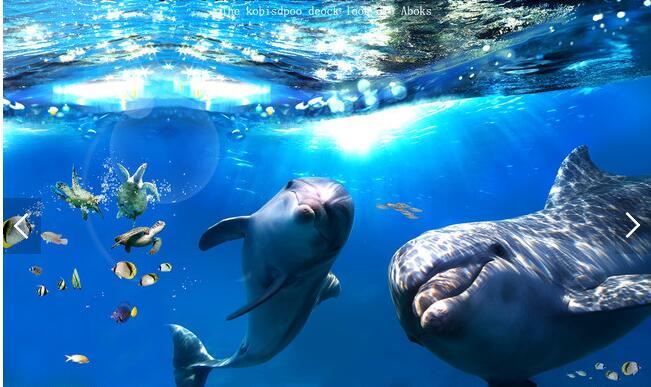 3d flooring custom waterproof wallpaper Beautiful sea world