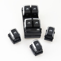 TUKE Driver Passenger Car Door Window Glass Chrome Switch 4 Pcs Set For A4 Allroad Quattro