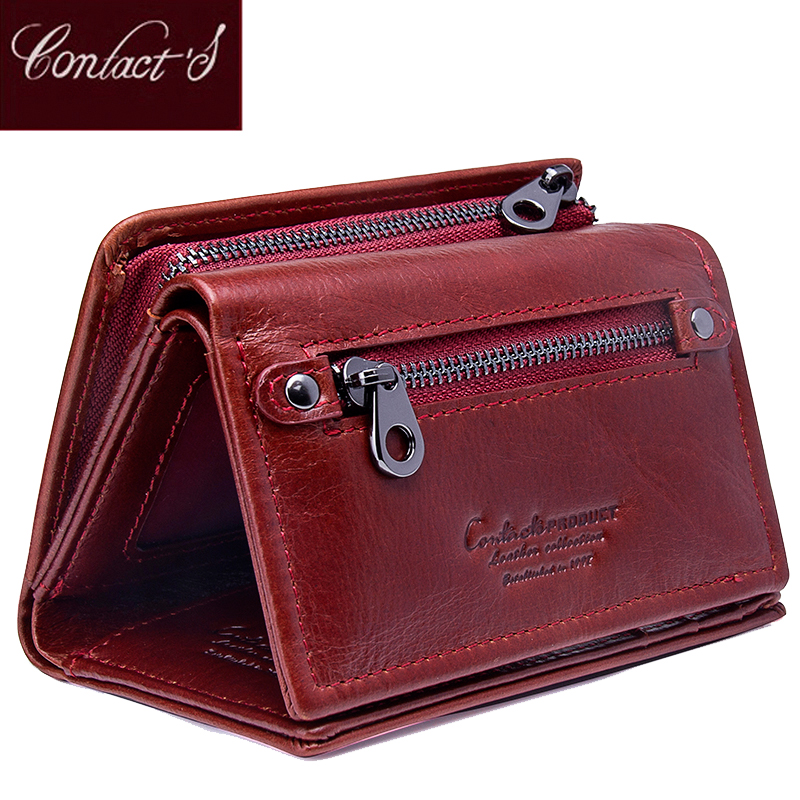 Contact's Fashion Short Women Wallets Genuine Leather Women Wallet Trifold Design With Coin Purses Pockets Photo Card Holder
