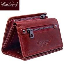 Contacts Fashion cartera corta de piel auténtica para mujer, monedero pequeño rfid, monedero con cerrojo, titular de la tarjeta femenina, billetera