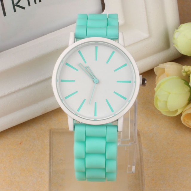 Casual Watch Geneva Unisex Quartz watch 7color men women Analog wristwatches Sports Watches Rose Gold Silicone watches Dropship
