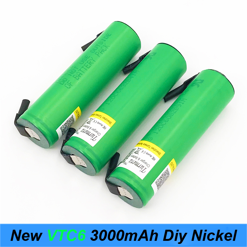 battery 18650 VTC6 3000mAh 30amps for electric cigarette 18650 with strips soldered rechargeable batteries for screwdrivers a7