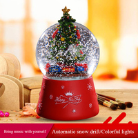 Christmas Snow Globe Crystal Ball Rotate Light Music Box Castle In The Sky Birthday Gift for Girlfriend Automatic Snow Drift E