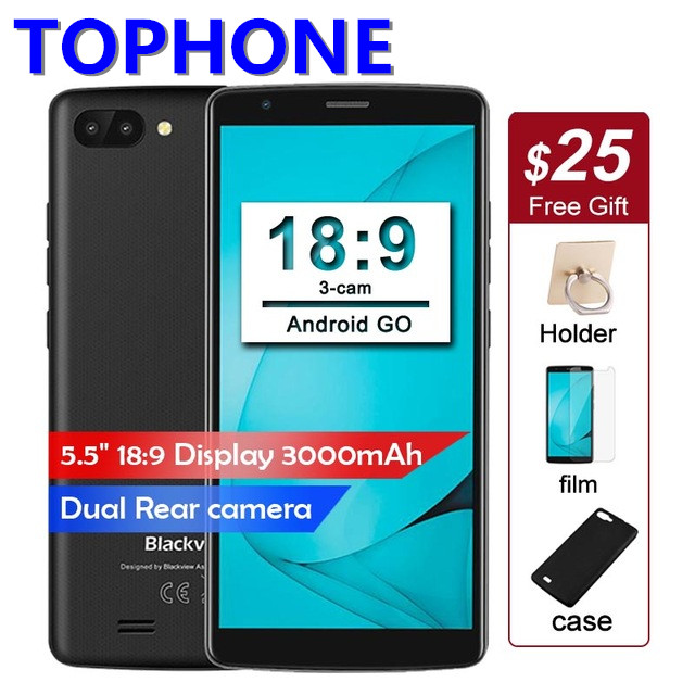 BLACKVIEW A20 Android GO смартфон Dual сзади Камера MTK6580 Quad core 5,5 18:9 1 ГБ + 8 ГБ сотовый телефон 3000 мАч gps мобильный телефон 3G