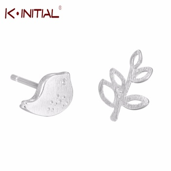 1Pcs 925 Silver Jewelry Bird Leaves Branch Asymmetry Stud Earrings For Girls/Woman Statement Accessories Earring Jewelry