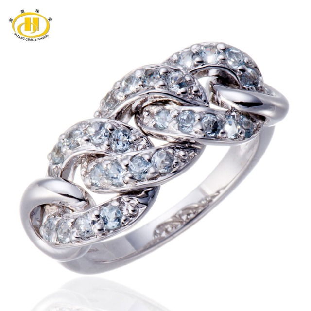 6d1ecf184458a6 Hutang 100% Genuine Aquamarine Gemstone Solid 925 Sterling Silver Woven Ring  Fine Jewelry Birthday Gift