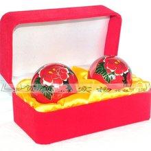 Health ball health  Gift box elder red velvet red peony send mother Baoding fitness  in the  hand ball