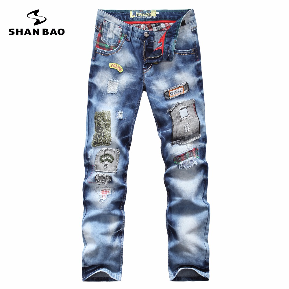 SHAN BAO brand personality fashion clothing style hole patch embroidery jeans 2017 new men's fashion straight trousers blue 8037