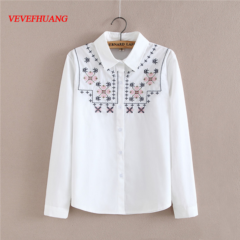 New Spring Women Cotton Shirt and Tops Female Long Sleeve White Shirts Snow Pattern Embroidered Blouses