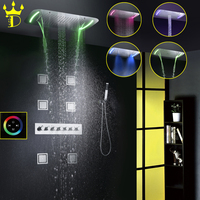 DISGOD Bathroom Shower Set Accessories Thermostatic Mixer Tap Touch Panel LED Shower Head Waterfall Rainfall Bath Shower Faucet