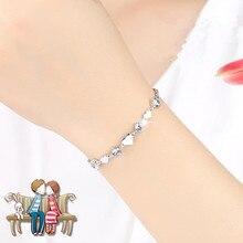 Everoyal Vintage Crystal Heart Girls Bracelets Jewelry Trendy Silver 925 Bracelet For Women Bride Wedding Accessories Female