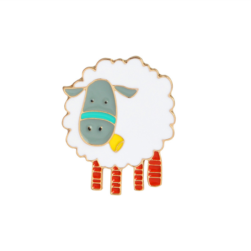 1pcs Cartoon Sheep Metal Badges Safety Pins For Clothes Badges Fashion Brooch Icons On Backpack Decorative Brooches CP1825