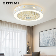 цена BOTIMI Modern LED Ceiling Fans With Lights For Living Room 220V Cooling Ventilador Round Ceiling Fan Lamp With Remote Control