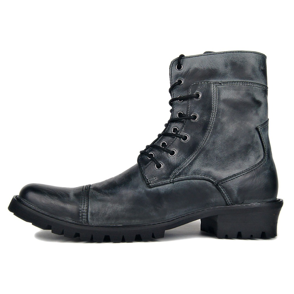Men Deep Retro Handmade Punk Genuine Leather Motorcycles Boots Hot Sale Fashion Plus Size Cowboy Boots
