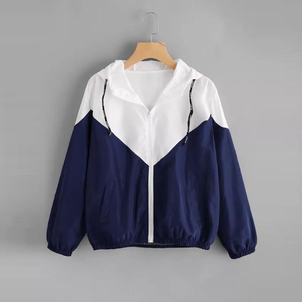 FeiTong Windbreaker Jacket Women Long Sleeve Two Tone Jacket Autumn Fashion Patchwork Hooded Coat Casual Blue Sport Coat