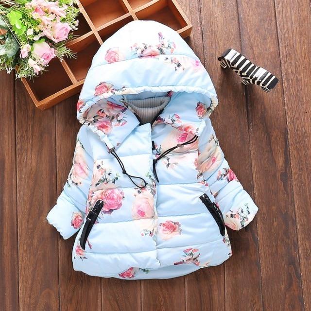 new winter baby girls cotton down ros flower hooded parkas snow wear kids children's thick outerwear coat casaco roupas de bebe
