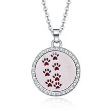 Aromatherapy Lockets necklace paw pattern Essential Oils Aroma Diffuser rhinestones locket Perfume Pendant Necklace cute gift