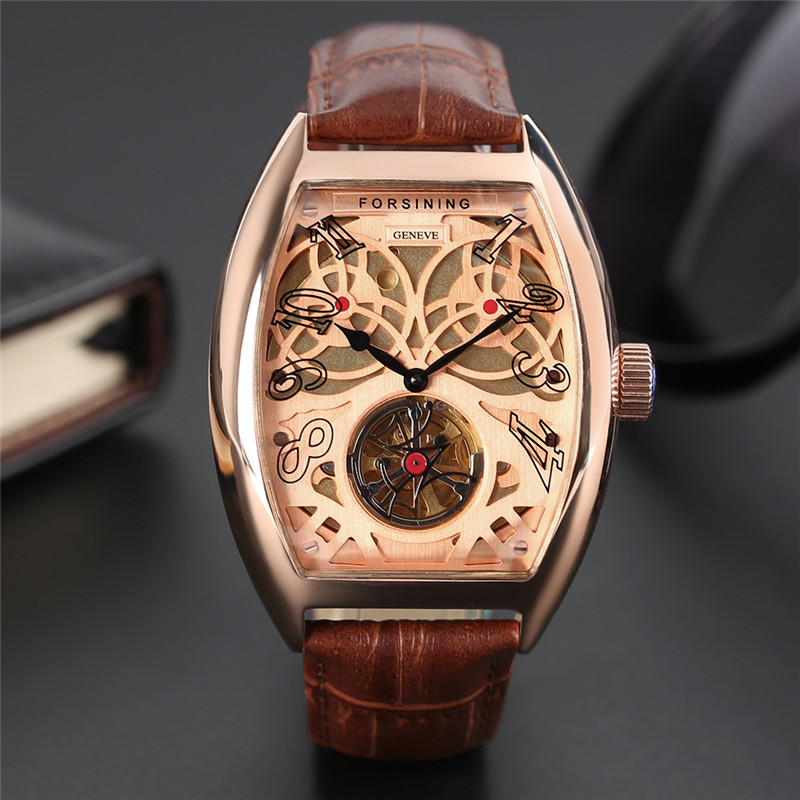 FORSINING Luxury Self-Wind Mechanical Men Wristwtach Genuine Leather Band Tonneau Design Case Unique Casual Fashion Watch Gift forsining luxury mmechanical men wristwatch genuine leathe band unique design dial cost effective male casual fashion watch