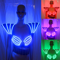 New Arrival RGB LED bra Colorful shoulder dance costumes luminous vest for ballroom bar dj disco party event singer sexy wears