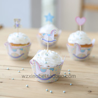 Cupcake Wrapper+Topper Packaging cupcakes set 60pcs decoration wooden horse series Free Shipping