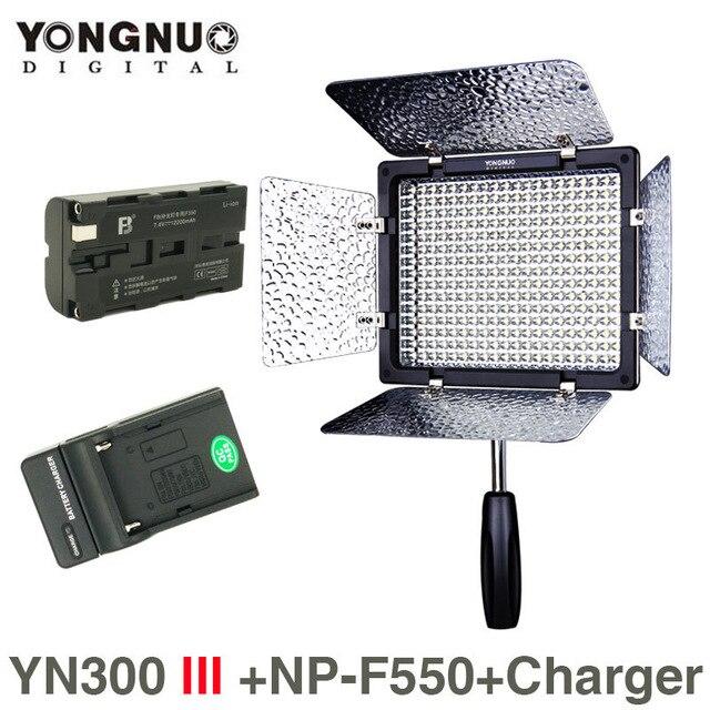 Yongnuo YN300 III 5500K CRI95 LED видео свет w NP F550 батарея и зарядное устройство DSLR камера фотография Фотостудия Освещение Лампа