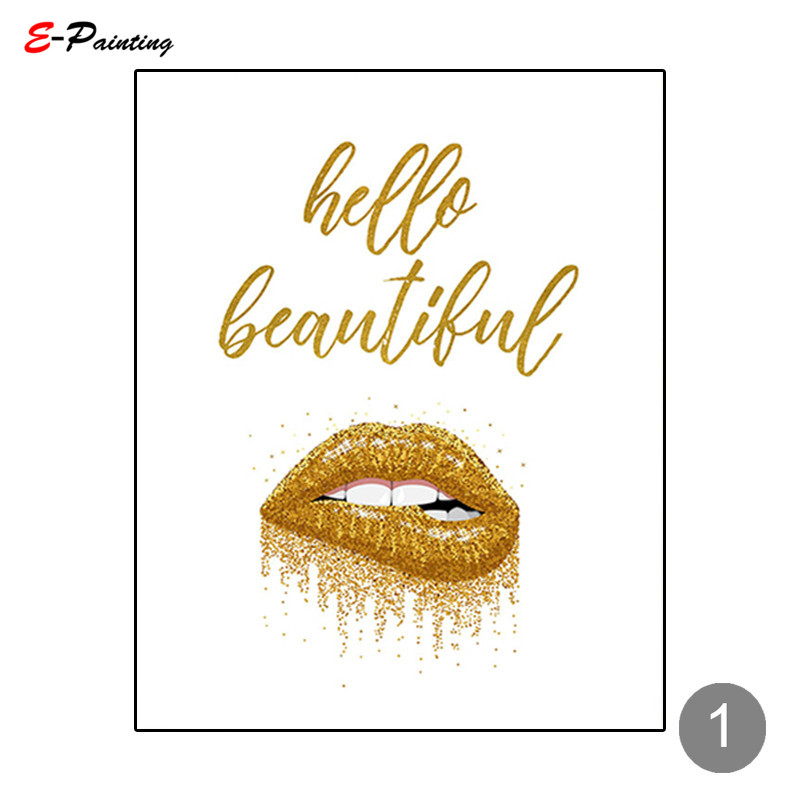 Fashion Gold Sparkled lipstick Canvas wall Art prints high quality great value