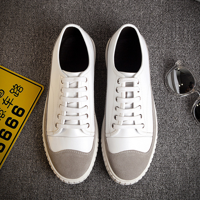 DreamShining Man British Shoes Men's Leather Breathable Casual Shoes Trend Of Young Men's Shoes Small White Shoes