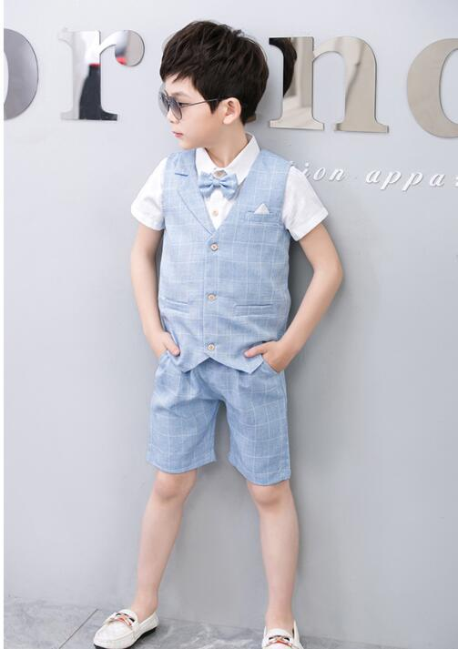 912ca899d756d Boys 2PCS Vest + Shorts with Bow Tie Kids Summer Clothing Sets Gentleman  Children Wedding Party Wear Plaid Formal Suits Dress