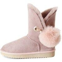 Модные Удобные и элегантные роскошные брендовые зимние женские зимние ботинки теплая Нескользящая зимняя женская обувь с меховым украшени