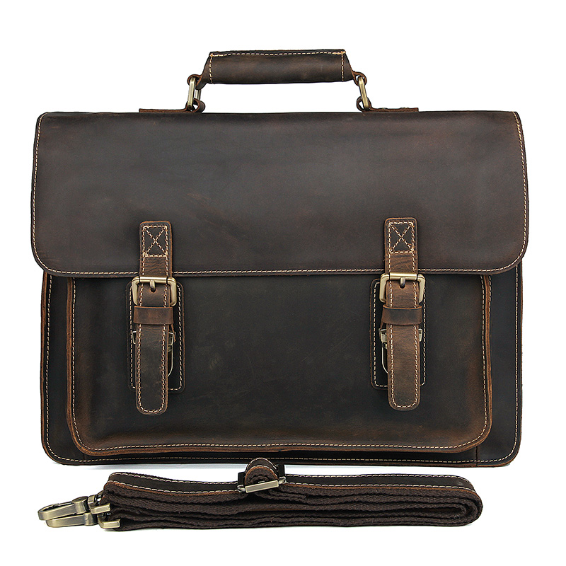 JMD Retro Fashion Crazy Horse Leather Brown Handbags For Men Messenger Bag Shoulder Bags 7205R