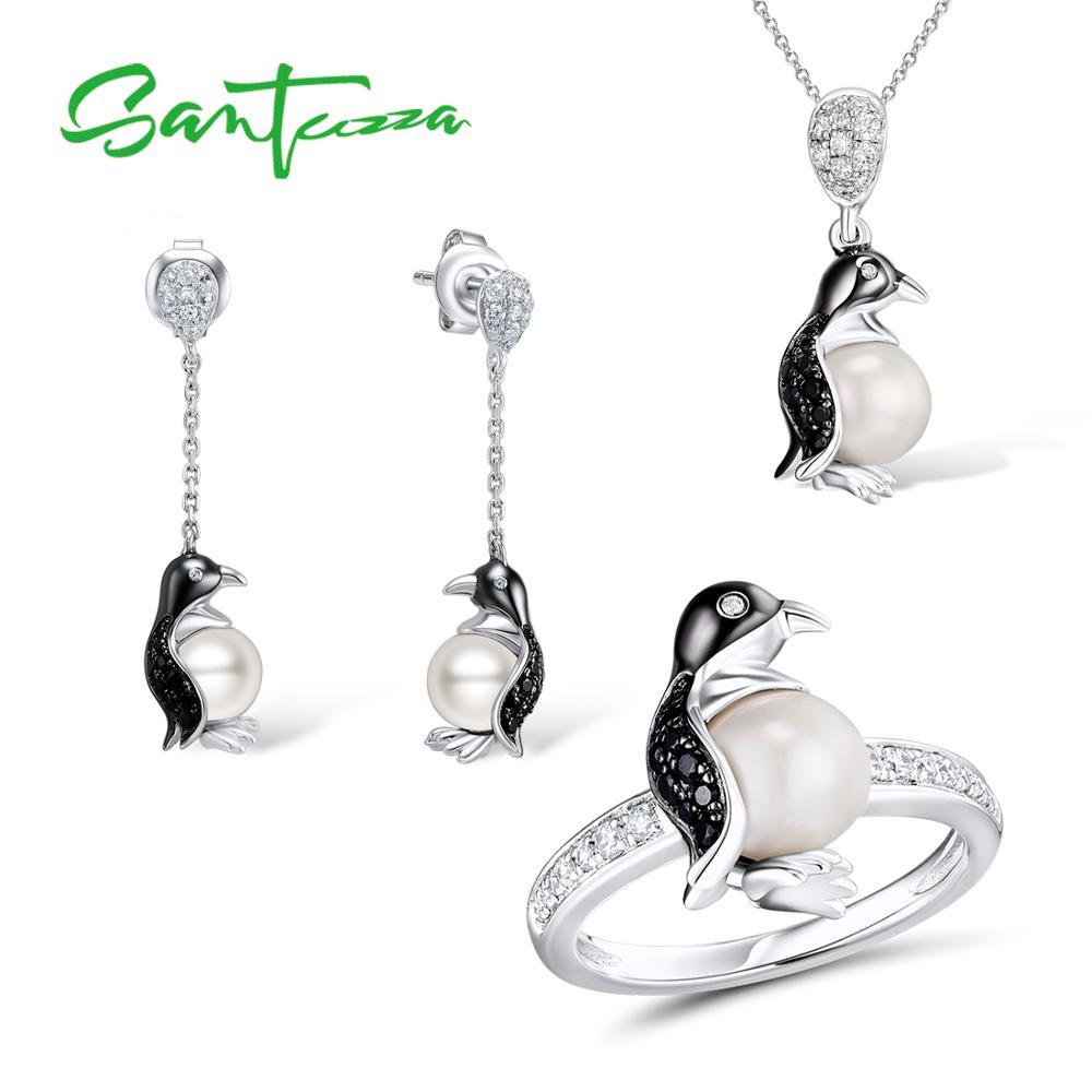 SANTUZZA Silver Penguin Jewelry Set Fresh Water White Pearl Ring Earrings Pendant Set 925 Sterling Silver