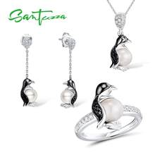 SANTUZZA Silver Penguin Jewelry Set Fresh Water White Pearl Ring Earrings Pendant Set 925 Sterling Silver Fashion Jewelry Set(China)