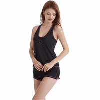 L K New Spring And Summer Women 100 Cotton Short Sexy Pajamas Set And Camisole Cami