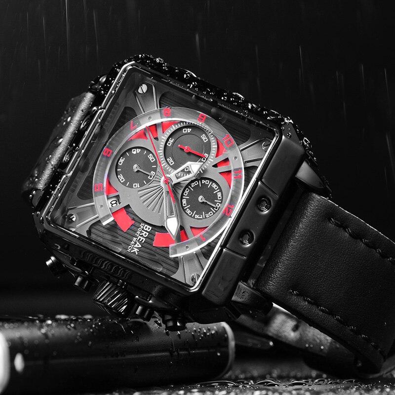 BREAK Men Luxury Brand Quartz Sport watches Mens Genuine Leather Chronograph Gift Wristwatches for Man Relogio Masculino