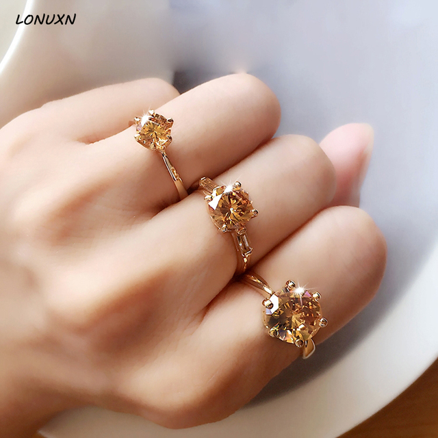 2018 New High Quality 1 2 5 Carat Women Jewelry Fashion Simple Yellow Crystal